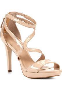 Sandália Shoestock Meia Pata Verniz Feminina - Feminino-Bege