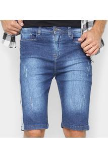 Bermuda Jeans Oxmo Com Listra Lateral Masculina - Masculino