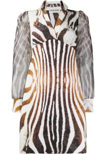 Le Petite Robe Di Chiara Boni Alithia Zebra-Print Open-Collar Mini Dress - Branco