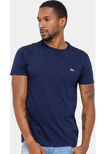 Camiseta Lacoste Básica Jersey Masculina - Masculino-Marinho