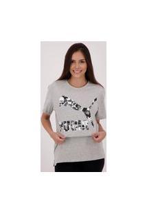 Camiseta Puma Classics Logo Feminina Cinza