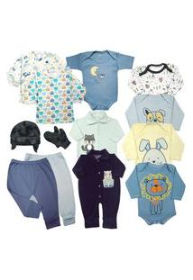 Kit Enxoval Saída Maternidade 13 Pç Body Estampado E Macacáo Azul