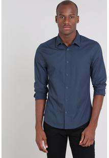 Camisa Masculina Slim Estampada De Poá Manga Longa Azul Marinho