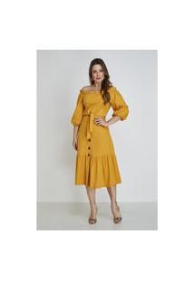 Vestido Mostarda Elisie Cloá