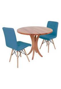Conjunto Mesa De Jantar Tampo De Madeira 90Cm Com 2 Cadeiras Gomos - Turquesa