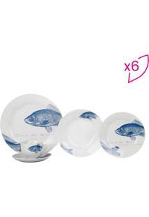 Aparelho De Jantar Big Fish Em Porcelana - Branco & Azulfull Fit