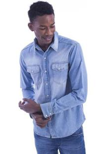 Camisa Jeans Long Island Premium Masculino - Masculino-Azul