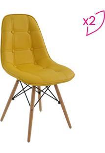Conjunto De Cadeiras Eiffel Botonê Sem Braço- Amarelo & Rivatti