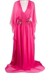 Alberta Ferretti Vestido De Festa Floral Com Decote Em V - Rosa