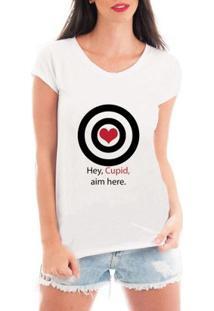 Camiseta Criativa Urbana Cupido Solteira - Feminino-Branco