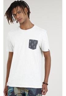 Camiseta Masculina Mescla Com Bolso Estampado Manga Curta Gola Careca Off White