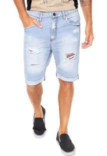 Bermuda Jeans John John Reta Delavê Azul