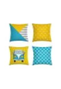 Kit 4 Capas De Almofadas Geométrica Amarelo E Azul