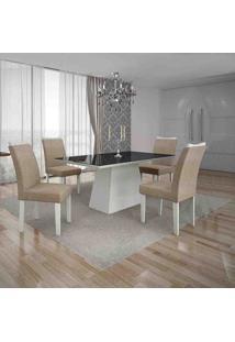 Conjunto De Mesa Com 4 Cadeiras Pampulha Iv Branco E Bege