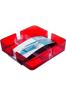 Porta Guardanapos Mod 18,9 X 18,9 X 4,7 Cm Cristal Com Vermelho Coza