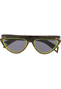Fendi Eyewear Óculos De Sol Gatinho Com Estampa De Logo - Marrom