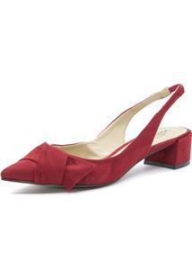 Scarpin Tie Slingback Shoes Inbox Em Camurça - Feminino-Vermelho