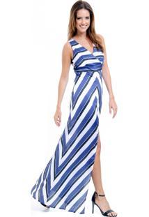 59bbf5805 ... Vestido Longo 101 Resort Wear Festa Estampado Crepe Listrado Azul
