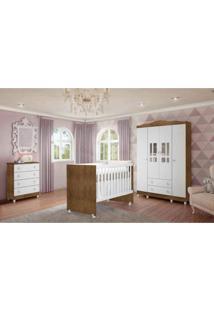 Dormitório Guarda Roupa Ariel 4 Portas Cômoda Berço Gabi Amadeirado Carolina Baby