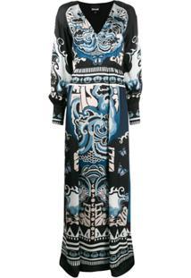Just Cavalli Vestido Longo Decote Em V Com Estampa Gráfica - Preto