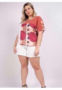 Blusa Recorte Almaria Plus Size Peri Rosa