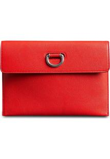 Burberry D-Ring Leather Pouch With Zip Coin Case - Vermelho
