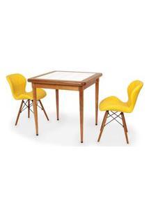 Conjunto Mesa De Jantar Em Madeira Imbuia Com Azulejo + 2 Cadeiras Slim - Amarelo