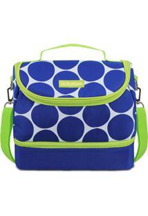 Bolsa Térmica Com Divisória- Azul & Verde Limão- 19,Jacki Design