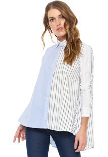 Camisa Calvin Klein Jeans Listras Branca/Azul