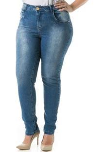 Calça Jeans Feminina Confidencial Extra Skinny Cigarrete Tradicional Plus Size - Feminino-Azul Escuro