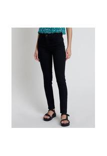 Calça Jeans Feminina Sawary Skinny Cintura Alta Preta