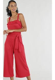 Macacão Pantacourt Feminino Risca De Giz Com Faixa De Amarrar Vermelho