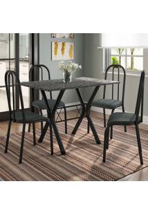 Conjunto De Mesa Miame 110 Cm Com 4 Cadeiras Madri Preto E Mesclado Petróleo