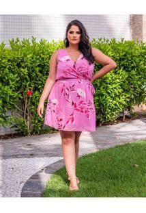 Vestido Curto Almaria Plus Size Peri Estampado Ros