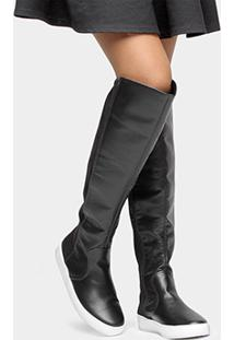 Bota Ramarim Over The Knee Solado Branco - Feminino-Preto