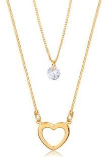 Colar Francisca Joias Duplo Com Pingente De Coração E Ponto De Luz Folheado Em Ouro 18K - Feminino-Dourado