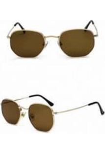 Óculos De Sol Uva Hexagonal Marrom
