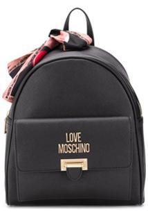 Love Moschino Mochila Com Detalhe De Lenço - Preto