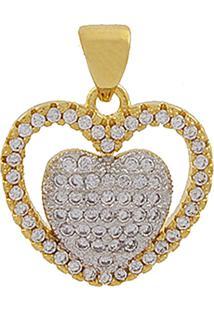 Pingente Narcizza Semijoias Coração Com Detalhes Em Zircônia Cristal Ouro