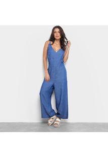 Macacão Carmim Gola V Pantalona Feminino - Feminino-Azul Escuro