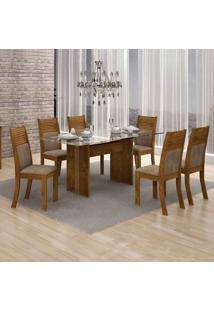 Conjunto De Mesa 160 Cm Com 6 Cadeiras Hawai Suede Canela E Capuccino