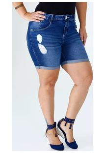 Bermuda Feminina Jeans Puídos Plus Size Marisa
