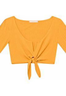 Blusa Cropped Amarração Amarelo Caramelo - Lez A Lez