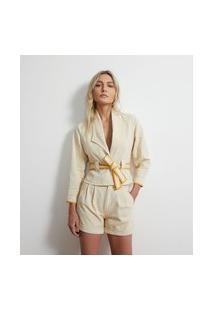 Jaqueta Em Sarja Sem Cava Com Cinto Faixa | Atelier | Bege | M