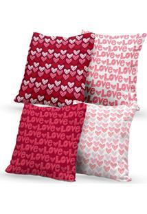 Kit 4 Capas De Almofadas Decorativas Own Love Coração 45X45 - Somente Capa