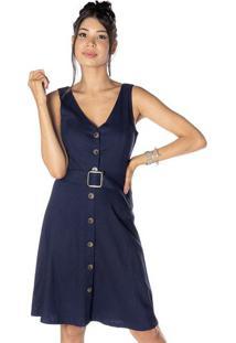Vestido Com Linho & Botãµes - Azul Marinhodwz
