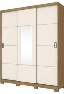 Guarda Roupa Henn Silver 3 Portas De Correr 02 Gavetas 1 Espelho Rústico/Off White