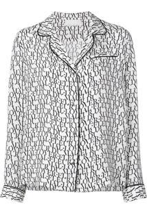 Fleur Du Mal Logo Print Pyjama Top - Branco
