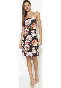 Vestido Floral Com Pingente - Preto & Laranja- Lançalança Perfume