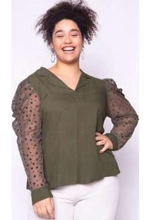 Blusa Almaria Plus Size Lasala Tule Verde Verde